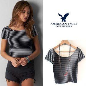 American Eagle stripe ballet back crop top